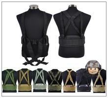 Airsoft Tactical Molle Sports Combat Waist Padded Belt With H-shaped Suspender Shoulder Strap Adjustable Nylon Cummerbunds BK #