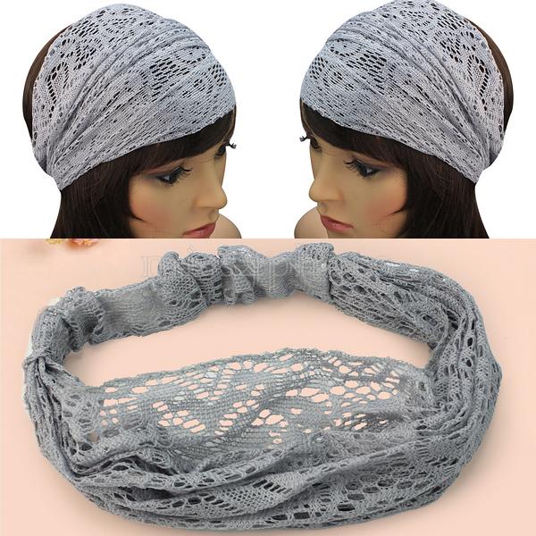 Elegant Women Gray Bandanas Lace Headwrap Headband Girls' Hair Accessory Gift(China (Mainland))