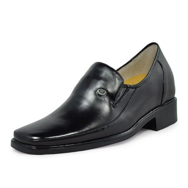 2011 - Special Offer-Black waterproof leather shoes - Best and cheap mens dress elevator height shoes lift taller 2.75 Inches.