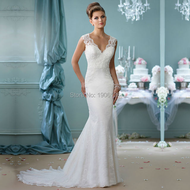 White Lace Wedding Dress : China white lace wedding dress bodycon bridal gown simple