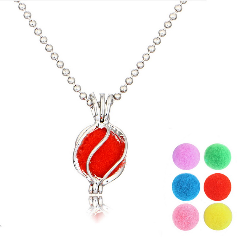 Fashion Silver Aromatherapy Lockets Necklaces For Women Perfume Fragrance Essential Oil Diffuser Pendant Necklace Ball Necklaces(China (Mainland))