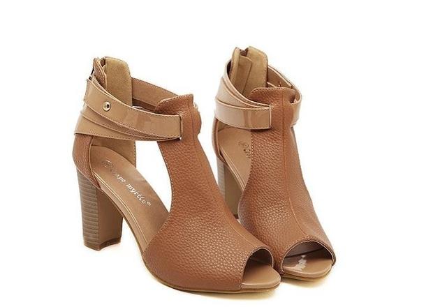 Женщины сандалии горячая распродажа голова рыбы толщиной с каблуках кожаные сандалии ...