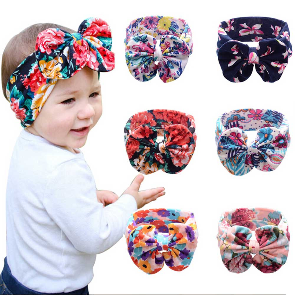 Baby Girl Hair Accessories Newborn Elastic Headband Bow Flowers 2016 Hair Band Bohemia Kids Headwear Photography Props(China (Mainland))