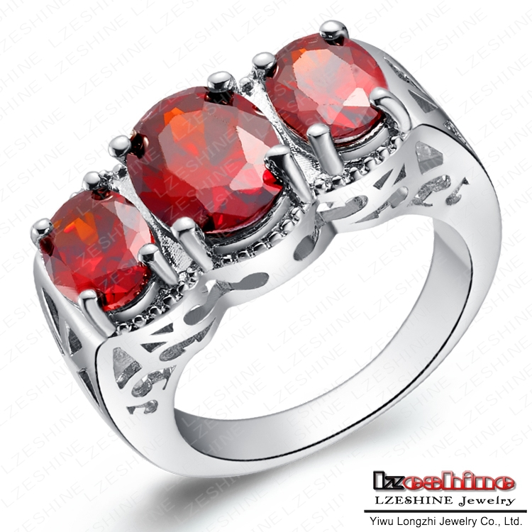 Cool Punk Rock Ring Christmas Gifts Real Platinum Plated Imitation Ruby Stone Ring WX RI0135