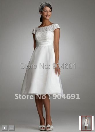 Short cap sleeves bridal formal gowns custom white lace for Knee length beach wedding dresses