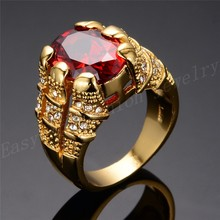 Yellow Gold Filled Ruby Ring Men s 10KT Finger Rings For Man Jewelry Size 8 9