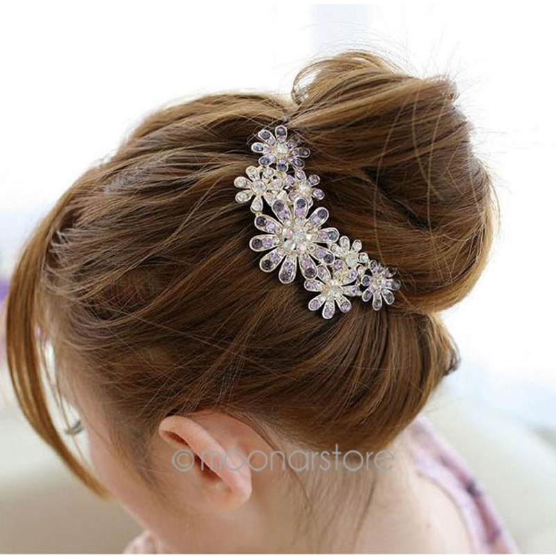 Women Beautiful Crystal Rhinestone Decorate Petal Tuck Hair Comb Flower Pin Hair Clip Hair Accessories Fashion Jewelry(China (Mainland))
