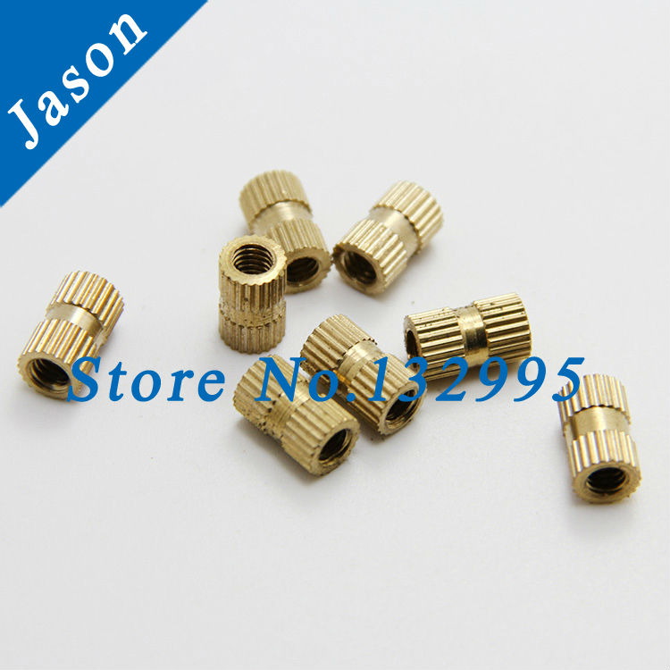 M4*14 (OD=6)  Brass Knurl Nuts Brass Insert Nut,Thumb Brass Knurled Round Nut Injection Moulding<br><br>Aliexpress