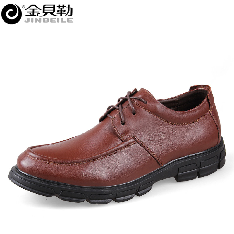 Men Shoes Genuine Leather Shoes Lace-up Business Formal Oxford Shoes Classic Office Casual Flats Men Chaussure Homme Brown