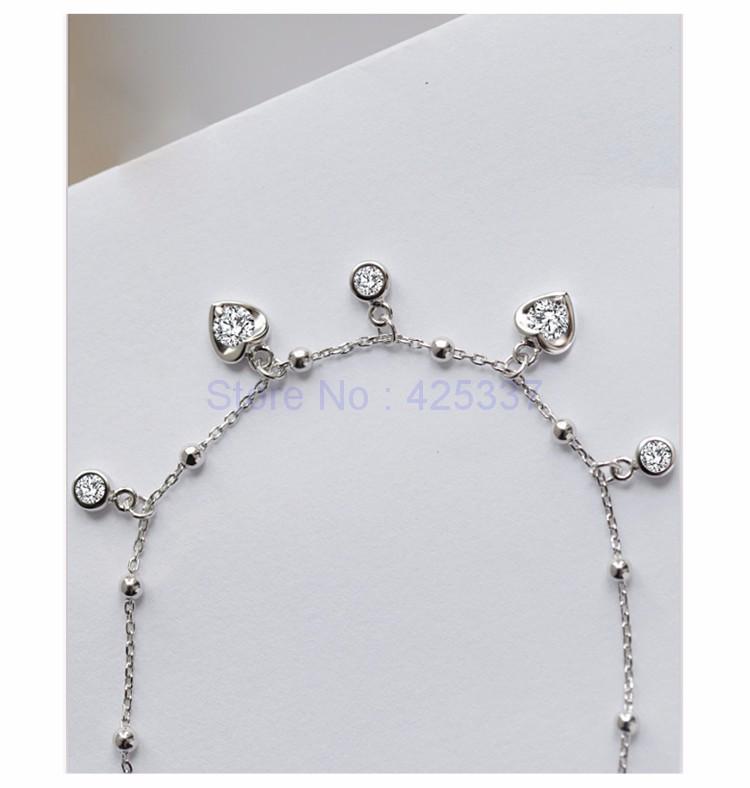Стерлингового Серебра 925 Пробы с Платиновым покрытием Сердца Диаманта CZ Ножные Браслеты Женщины Модный Бренд Ювелирных Аксессуаров (SA048)
