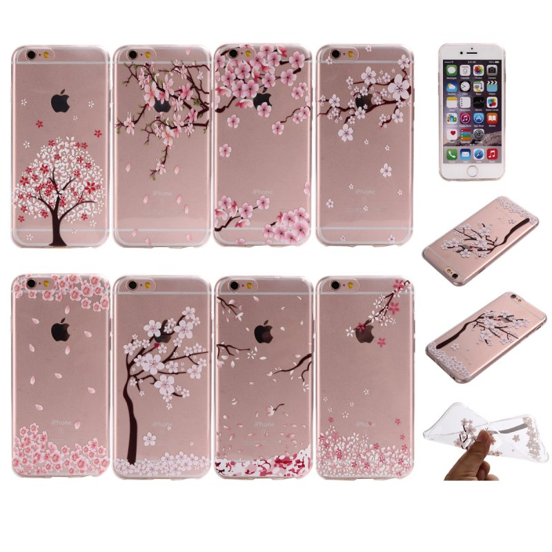 Back Case For iPhone 6 6S Sakura Silicone Cover Flower Clear Soft Thin Floral Pure Shell Gel For iPhone 6 6S Mobile Phone Cases(China (Mainland))