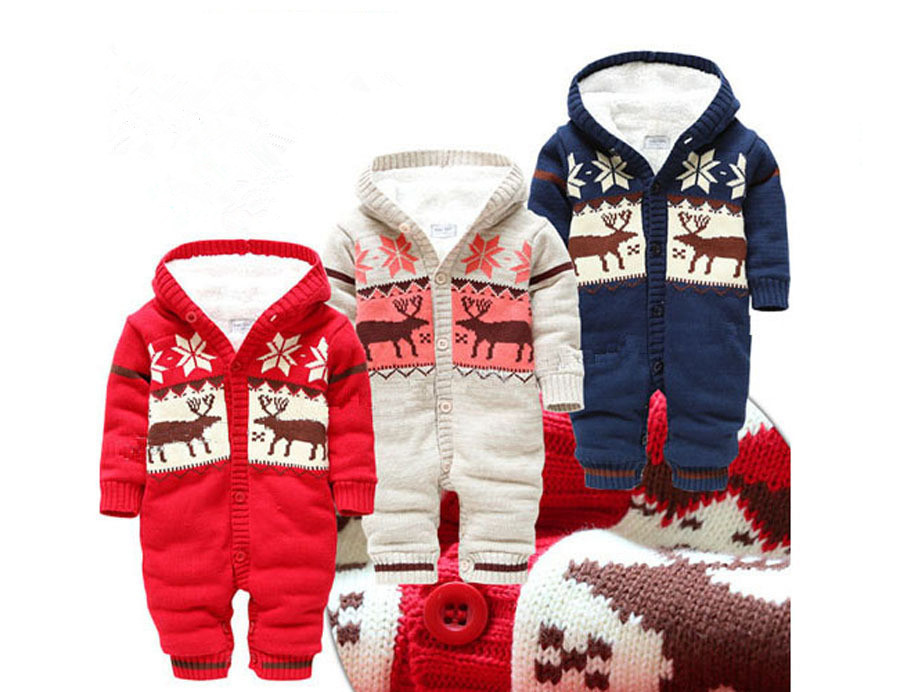 Baby Rompers 2015 New Arrive Winter Soft Unisex Christmas Deer Thicken Hooded Warm Clothing Boys Girls Clothes - Peninsula BabyWow Store store