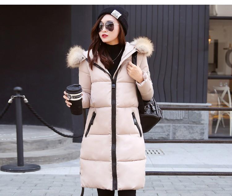 2016 New Winter Jacket Long Coat Women Cotton Jacket Thicken Coat Fur Collar Hooded Down Coat Warm Winter Jacket Parka A20