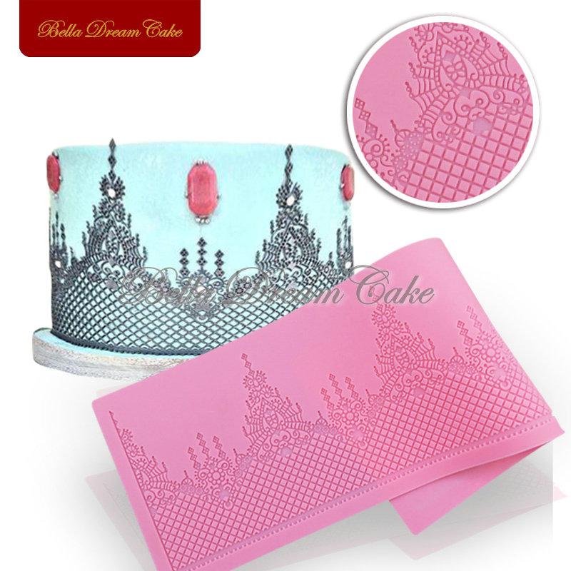 Royal Chandelier Shape Lace Mat Silicone DIY Cake Fondant Mould Mold,Wedding Baking Decorating Tools,Cake Side Moulds LFM-26(China (Mainland))