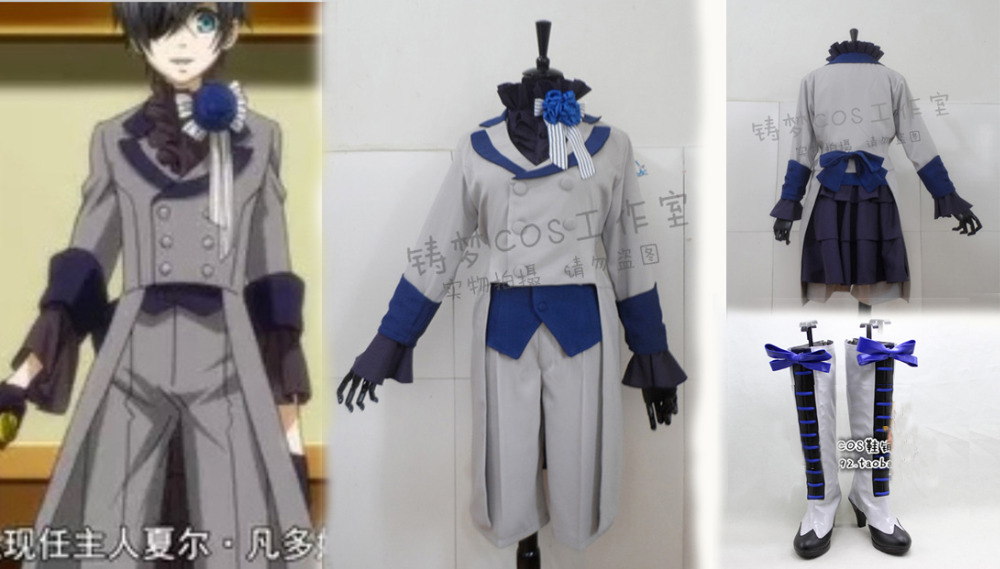 New Black Butler 3 Ciel Phantomhive Grey Suit Cosplay Costume and Shoes Boots Any SizeОдежда и ак�е��уары<br><br><br>Aliexpress
