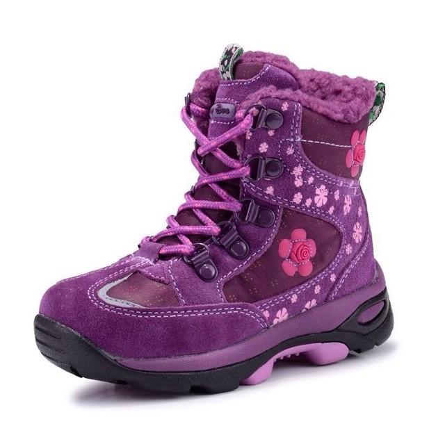 Холодной 30 градусов ниже нуля Девушки Зимняя обувь Дети Непромокаемую Обувь вышивать Дети снегоступы Неподдельной кожи принцесса Сапоги