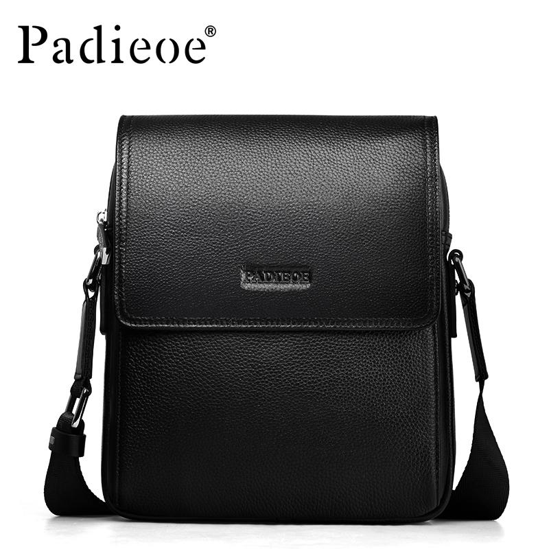 2016 Fashion black genuine leather men messenger bags famous design business Men Shoulder Bags men s bag Crossbody sling bags(China (Mainland))