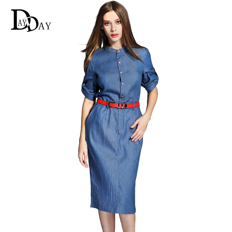 (With Belt) 2015 Autumn Plaid Printed Half Sleeve Cotton Denim Women pencil Midi Casual Dress vestidos Y212201