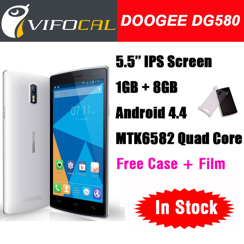 "In Stock Original Doogee KISSME DG580 5.5"" Wake Smart Mobile Phone Android 4.4 MTK6582 Quad Core 1GB 8GB 8.0MP 3G GPS(China (Mainland))"
