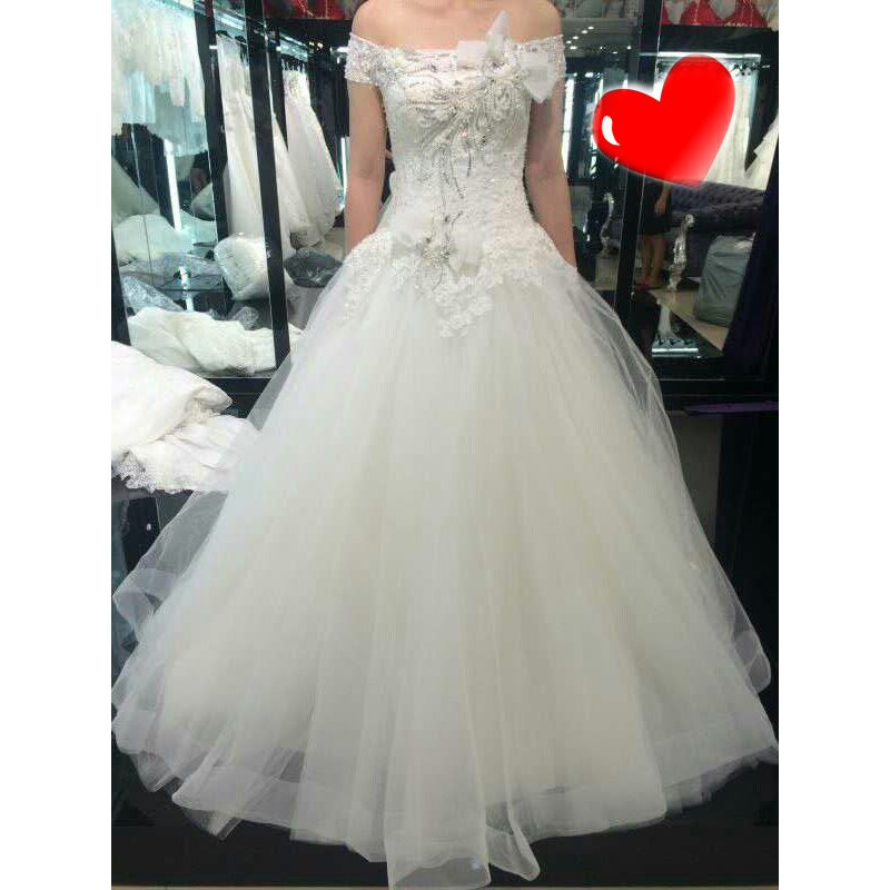 0831H MYEDRESSHOUSE Haute Couture Boat Neck Lace Wedding Dresses South Africa Style Royal Train Bridal Ball Gown - Myedresshouse Group's store