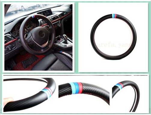 1Pcs New M Power Black Carbon Fiber Luxury Car Steering Wheel Cover For M3 M5 M6 free shipping <br><br>Aliexpress