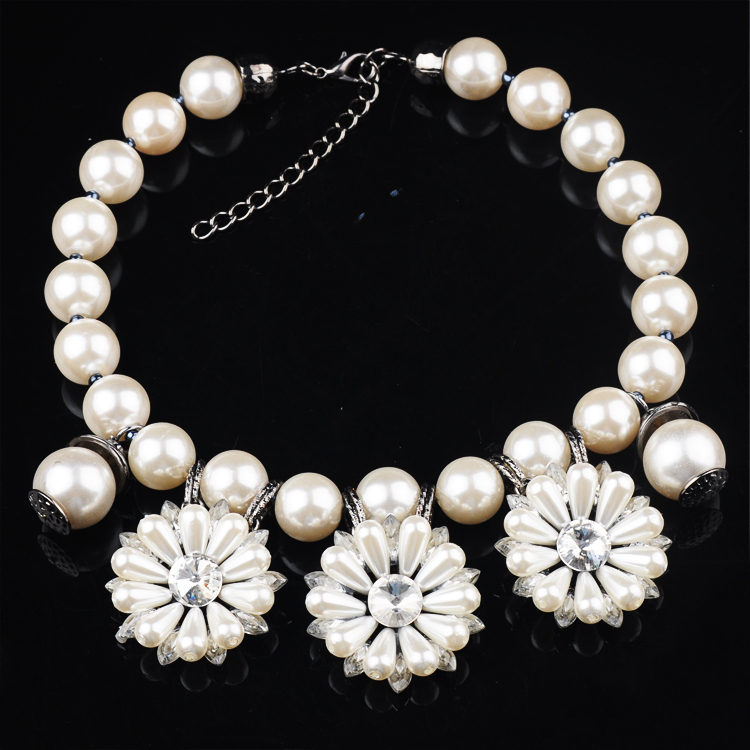New Statement Jewelry vintage pearl necklace with elegant flower wholesale all match for party(China (Mainland))