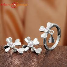 KS038-C Gold Plated /Rose Gold /Platinum Plated Zircon Clover Earrings/Rings,Fashion Crystal Set alloy anti allergy zircon(China (Mainland))