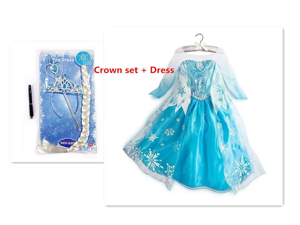 2015 Elsa Dress Sequined Blue Princess Elsa Dress Halloween Cosplay Costume Girl Dress Fantasias Infantis Vestido Disfraz(China (Mainland))