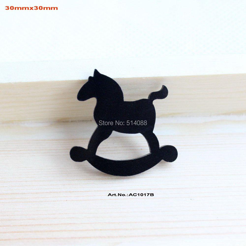 (80pcs/lot) Black Rocking Horse Eco-Friendly Acrylic Christmas Crafts Art Projects -AC1017B(China (Mainland))