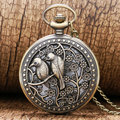 2016 New Arrival Bronze Lovely Bird Hollow Quartz Pocket Watch Necklace Pendant Gift for Men Woman