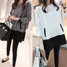 2015 Large size women fat mm autumn fertilizer to increase the long-sleeved dress was thin 200 pounds of loose shirt #(China (Mainland))