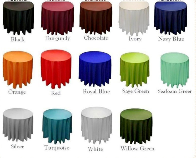 15pcs 108'' Free shipping variety colors table cloth satin round wedding tablecloth(China (Mainland))