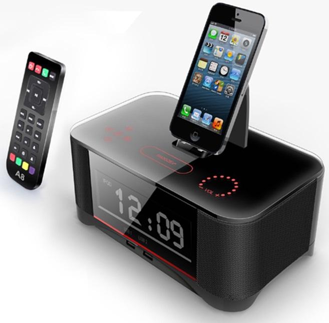 2015 Brand new High-Class NEW NFC Lighting Alarm Black Bluetooth Speaker Dock Docking Station for iPhone 5s/5c/5 MP3(China (Mainland))