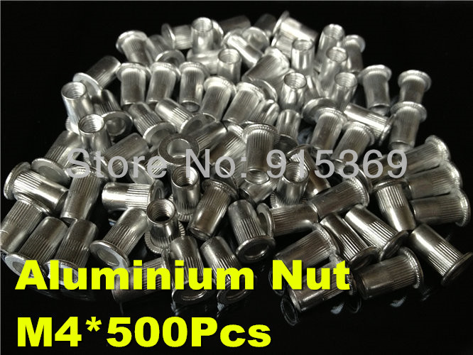 500pcs M4 Aluminum Rivet Nut ribbed blind insert nut AVK flat head nuts Alu knurled inserts(China (Mainland))