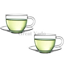 2 sets/lot, glass coffee/tea cups with saucer Espresso cup for coffee&tea sets 100ml/3.5oz