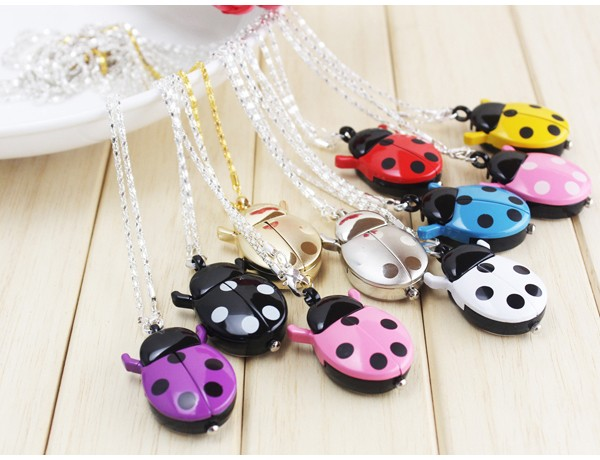 Beautiful woman girl students beetles ladybug pendant quartz pocket necklace watch with chain 30pcs 9 colors(China (Mainland))