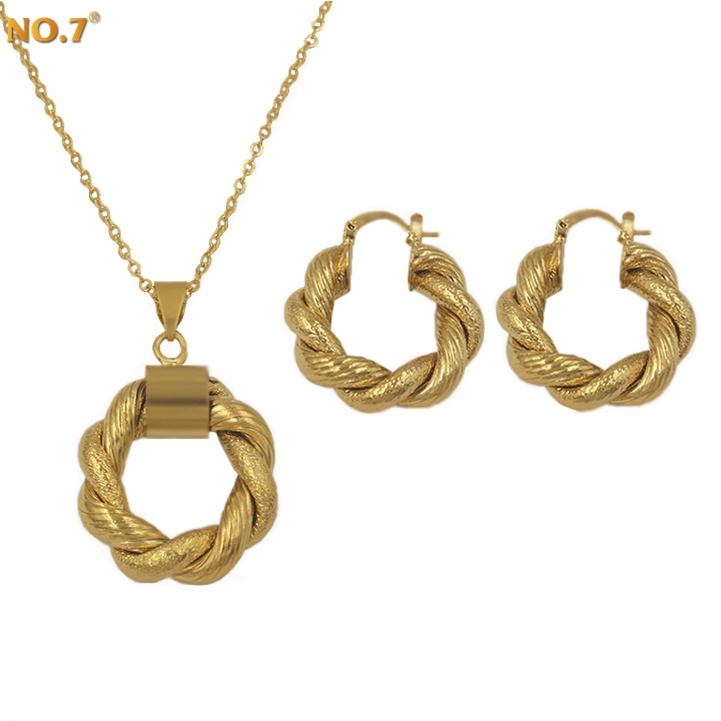 Brand New Arrival Popular Necklace And Earring Set Jewelry For Women Cute Dubai Jewelry Sets Gold Plated Bridal Accessories Gift(China (Mainland))