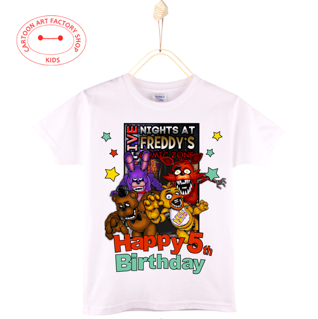 2016 Birthday T-shirts Boys Girls 2-16th 100%Cotton 3D Cartoon Print Kids T shirt Baby Tops Tee Children Clothes Free Shipping(China (Mainland))