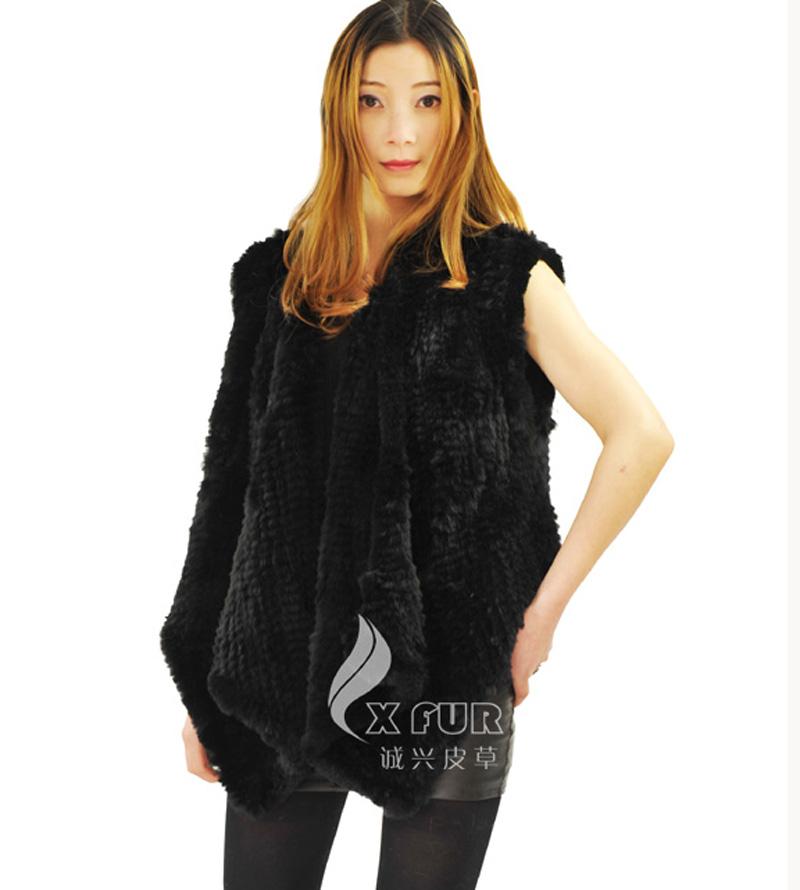 CX-G-B-202B Genunie Knitted Rabbit  Fur Vest Waistcoat