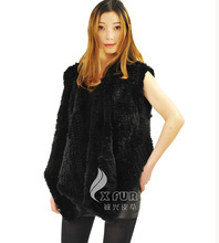 CX-G-B-03 Genunie Knitted Rabbit  Fur Vest Waistcoat(China (Mainland))