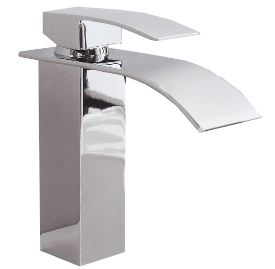 Chrome Brass Square Waterfall Basin Mixer Hot Cold Bathroom Kitchen Sink Faucet - LED lamp solar controller store