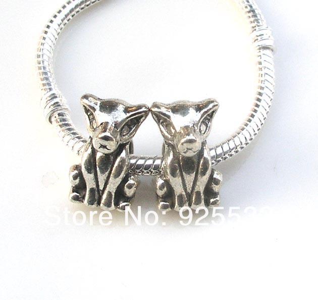 Free shipping 50pcs/lot 16x11x10mm big hole antique metal dog beads fit European bracelet jewelry DIY(China (Mainland))