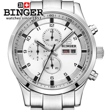 fashion 2016 brand Binger top quality luxury Wholesale Retail CHRONOGRAPH Watch Original box Certificate Wrist Watches White(China (Mainland))