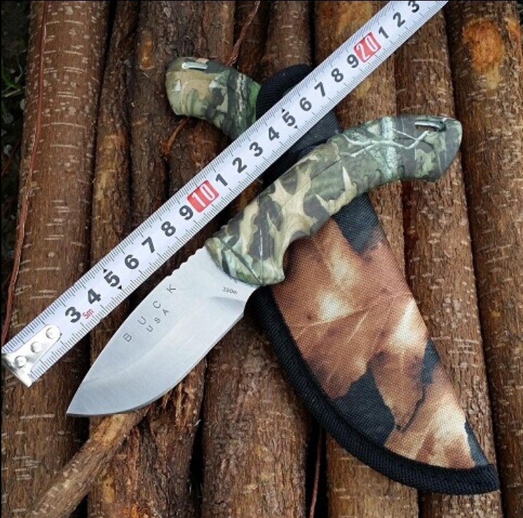 Hot Buck New Straight Knife 7Cr15Mov 58HRC Blade ABS Camouflage Handle Camping Hunting Outoor Survival Knife Free Shipping