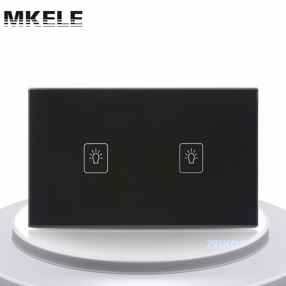 Touch Switch 2 Gang 2 Way Black Crystal Glass panel US Standard wall socket for lamp(China (Mainland))