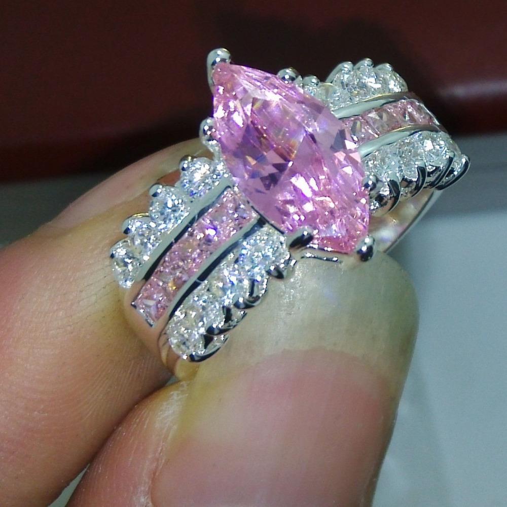 Sz 510 Jewelry 925 Silver Filled Pink Sapphire Cz Simulated Diamond  Princess Cut Wedding Ring Gift
