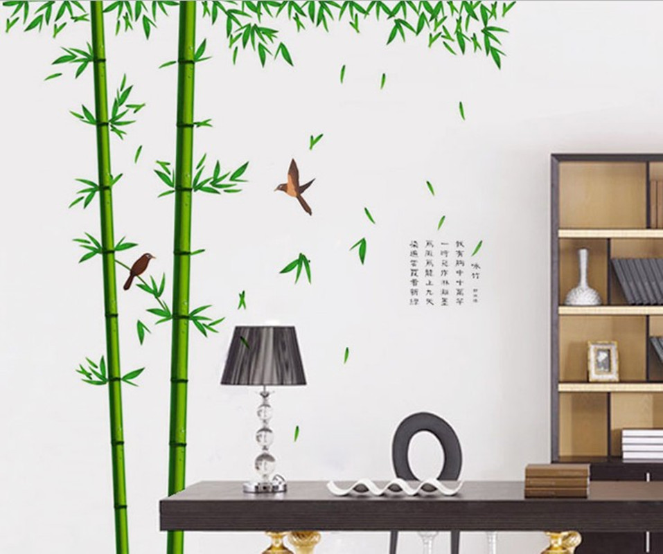 Affiche arbre grande maison amovible green bamboo trees for Decoration maison aliexpress