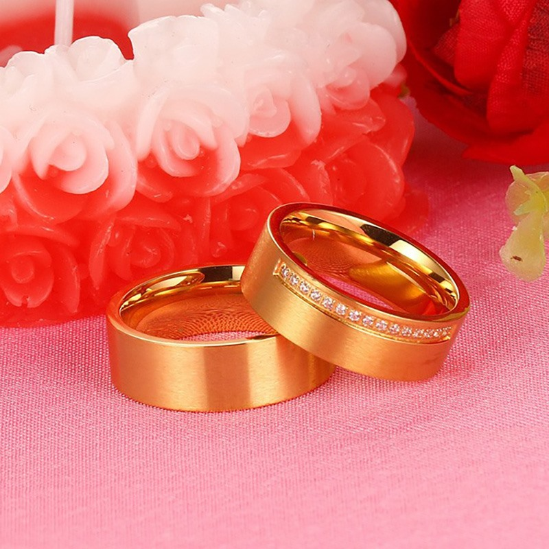VNOX  Gold Plated Wedding Rings for Women/Men Jewelry Trendy CZ Stone Surgical Steel Promise Engagement Ring