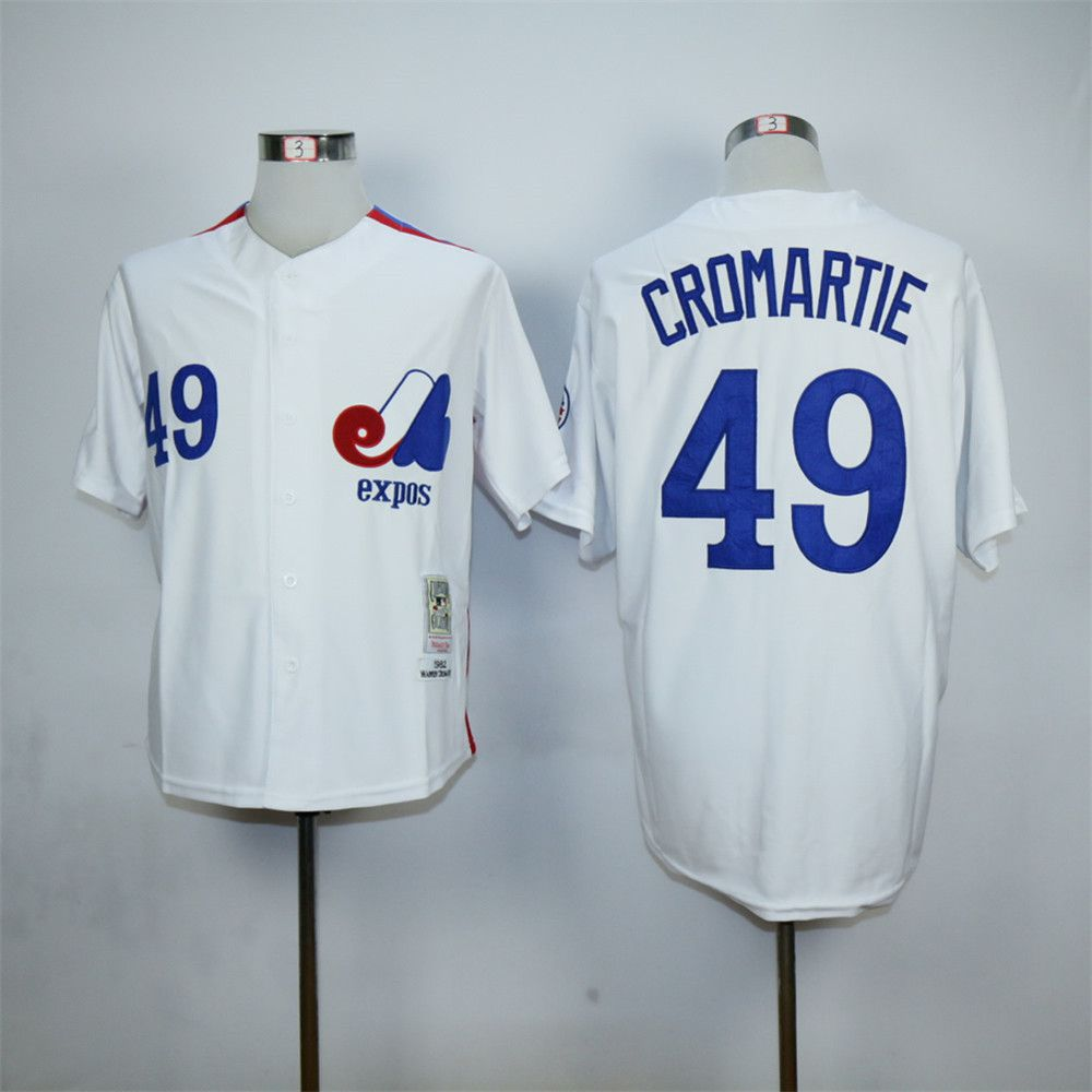 Cheap Warren Cromartie Jersey Montreal Expos 49# Throwback Baseball Jersey Authentic Stitched Baseball Shirt Blue White(China (Mainland))