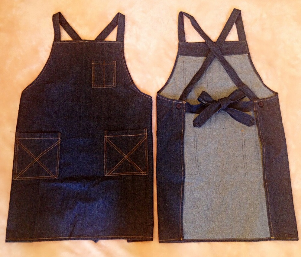 Cotton Denim Coffee Shop Restaurant Kitchen Apron Overall Nail Shop Uniform(China (Mainland))